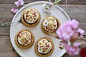 Vegan smoothie raspberry tartlets with sponge cake bases