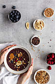 Healthy acai bowls with ingredients