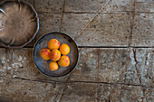 Apricots In Silver Bowl