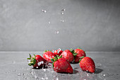 Strawberries with drops of water