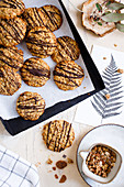 Flourless oat biscuits with chocolate and muesli