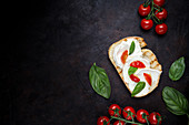 Crunchy toast smeared with cream cheese and decorated with basil leaves and pieces of cherry tomatoes