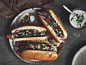 Vegetarian hot dog with seitan sausages