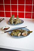 Bah-Tzang (Klebreis mit Fleisch im Bambuspäckchen, Taiwan)