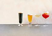 Stout, Weissbier, Nosecco (alkoholfrei) und Monte Rosso