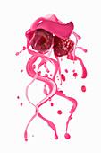 Raspberries with a juice splash