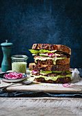 Perfect steak sandwich with herb mayonnaise