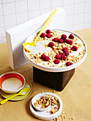 White chocolate, raspberry, vanilla rice pudding crumble
