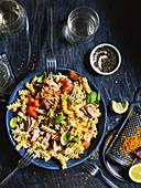 Fusilli with tuna, tomatoes and basil