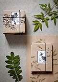 Geschenke in DIY-Geschenkpapier verpackt