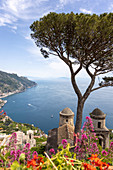 A view from the garden of Villa Ruffolo over the Torre Annunziata, Amalfi Coast, Italy