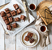 Chocolate Brownies freshly cooked with black coffee