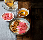 Rhubarb compote with yoghurt, honey and home made granola