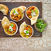 Chicken curry and rice aperitifs, with nan bread, yogurt raita and coriander