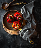 Roasted stuffed red peppers