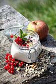 Joghurt mit selbstgemachtem Knuspermüsli und Obst im Bügelglas