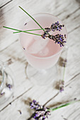 Homemade lavender lemonade in a glass