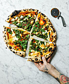 Pizza with Cavolo nero and confit garlic