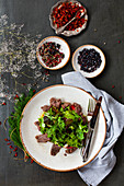 Sirloin steak salad with pepper and paprika