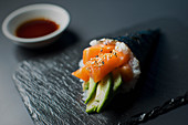 Temaki with salmon and avocado (Japan)