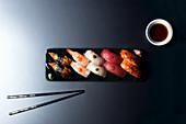 Nigiri Combo with prawn, eel, tuna, salmon and mackerel