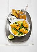 Sweet potato and spinach curry with coconut milk and coriander