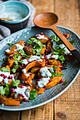 Roasted Butternut with Baharat Spice and Herb Yogurt Dressing