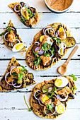 Olive Oil Flatbreads with Boiled Egg and Roasted Aubergine