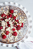 Raspberry Yoghurt Cake with Almond Flakes