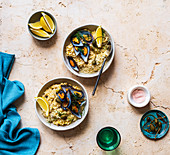 Baked Risotto with Mussels, Capers and Cheese