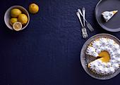 Lemon supreme tart with french meringue topping
