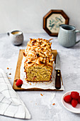 Banana bread with coconut and raspberries