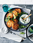 Fish cakes with lemon dip