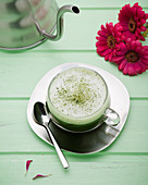Matcha tea with soya milk foam