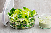 A green layered salad to take away