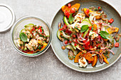 Vegetable salad with peaches and buffalo mozzarella to take away
