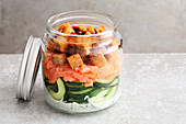 Salmon and cucumber salad with croutons to take away