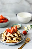 Honey sesame waffles with strawberries