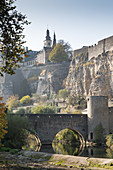 The Alzette river with the casemates (Casemates du Bock), Grund, Luxembourg