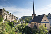 The Church of Saint John in Grund with a view of the footpath between Grund and Oberstadt, Luxembourg
