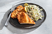 Chicken schnitzel with cabbage salad