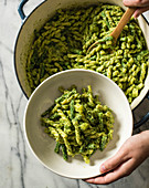 Gemelli with pesto potatoes and green beans