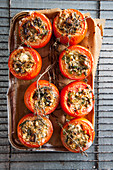 Tomatoes stuffed with cheese and herbs
