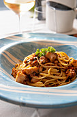 Linguini with squid ragout