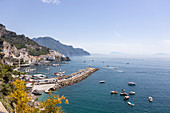 A view of the old harbour in Amalfi from the main road, Campania, Italy
