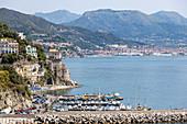 A view of Cetara from the main road, Amalfi Coast, Campania, Italy