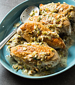 Roasted chicken breast with leek