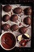 Chocolate-coated caramel marshmallow easter eggs