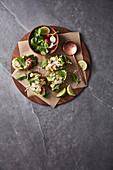 Ceviche in lettuce cups