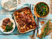 Easter lamb with potatoes and chard